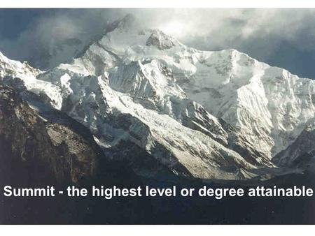 Summit - the highest level or degree attainable.