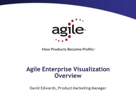 Agile Enterprise Visualization Overview David Edwards, Product Marketing Manager.