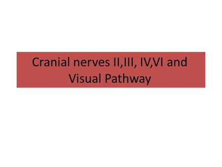 Cranial nerves II,III, IV,VI and Visual Pathway