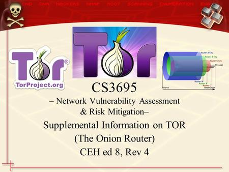 Supplemental Information on TOR (The Onion Router) CEH ed 8, Rev 4 CS3695 – Network Vulnerability Assessment & Risk Mitigation–