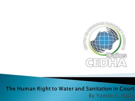 The Human Right to Water and Sanitation in Court By Yamile E. Najle.