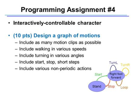 Programming Assignment #4 Interactively-controllable character (10 pts) Design a graph of motions –Include as many motion clips as possible –Include walking.
