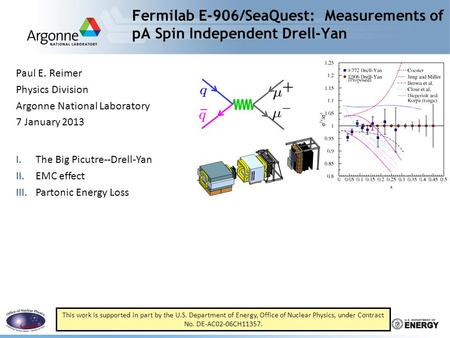 Fermilab E-906/SeaQuest: Measurements of pA Spin Independent Drell-Yan Paul E. Reimer Physics Division Argonne National Laboratory 7 January 2013 I.The.
