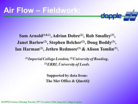 DAPPLE Science Meeting Tuesday 30 th November 2004, Imperial College London. Air Flow – Fieldwork: Sam Arnold (1&2), Adrian Dobre (2), Rob Smalley (3),
