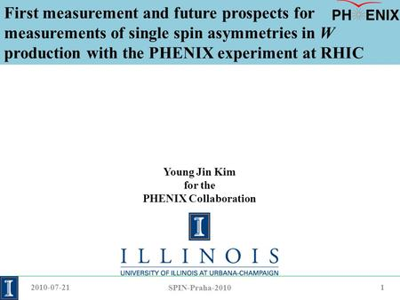 First measurement and future prospects for measurements of single spin asymmetries in W production with the PHENIX experiment at RHIC Young Jin Kim for.