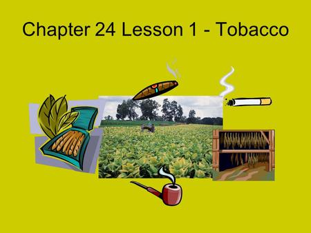 Chapter 24 Lesson 1 - Tobacco Tobacco Use – A High –Risk Behavior.
