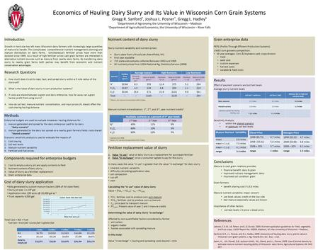 Nutrient content of dairy slurry Slurry nutrient variability and nutrient prices Slurry data from UW soils lab (Marshfield, WI) First year available 715.