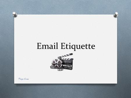 Email Etiquette Paige Cross. Home Creating a new E-mail Fonts, colours, sizes etc Sending an E-mail Send using CC Send using BCC Create a signature Include.