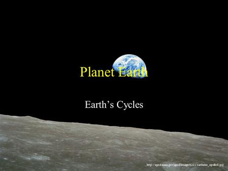 Planet Earth Earth's Cycles