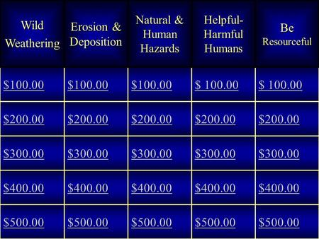 WildWeathering Erosion & Deposition Natural & Human Hazards Helpful- Harmful Humans Be Resourceful $100.00 $ 100.00 $ 100.00 $ 100.00 $ 100.00 $200.00.
