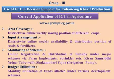 Www.agridept.cg.gov.in  Area Coverage :- Districtwise online weekly sowing position of different crops.  Input Arrangement :- Districtwise online weekly.