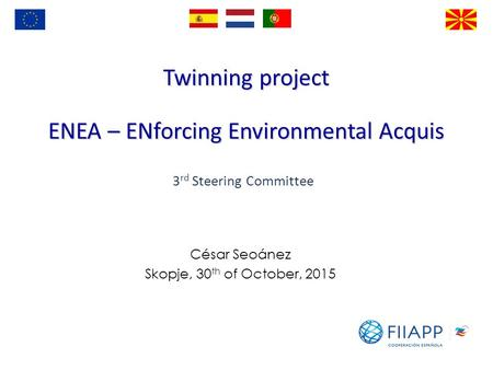 Twinning project ENEA – ENforcing Environmental Acquis César Seoánez Skopje, 30 th of October, 2015 3 rd Steering Committee.