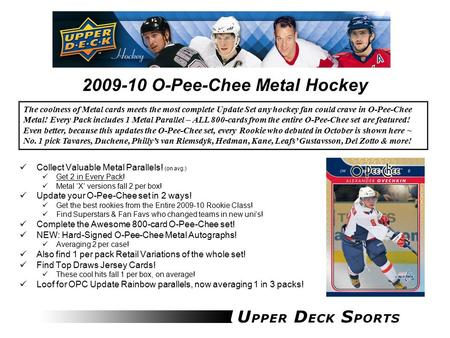 2009-10 O-Pee-Chee Metal Hockey Collect Valuable Metal Parallels! (on avg.) Get 2 in Every Pack! Metal 'X' versions fall 2 per box! Update your O-Pee-Chee.