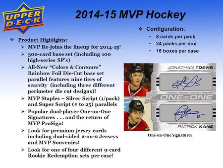 2014-15 MVP Hockey  Configuration: 8 cards per pack 24 packs per box 16 boxes per case  Product Highlights:  MVP Re-joins the lineup for 2014-15! 