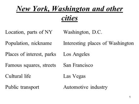 New York, Washington and other cities