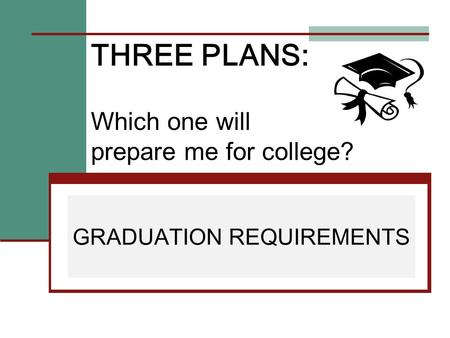 THREE PLANS: Which one will prepare me for college? GRADUATION REQUIREMENTS.