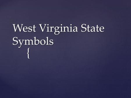 { West Virginia State Symbols. { State Animal BlackBear.