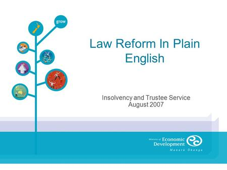 Law Reform In Plain English Insolvency and Trustee Service August 2007.