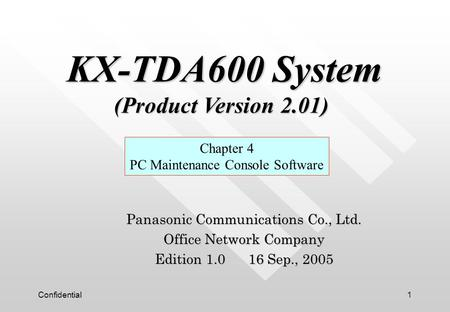 KX-TDA600 System (Product Version 2.01)
