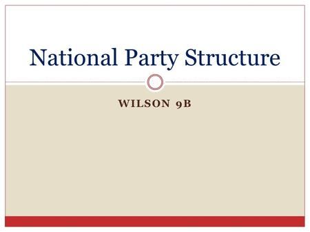 WILSON 9B National Party Structure. Still the Same National convention has ultimate power Convention nominates presidential candidate National committee.