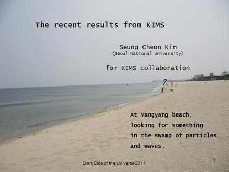 ? At Yangyang beach, looking for something in the swamp of particles and waves. 1 The recent results from KIMS Seung Cheon Kim (Seoul National University)