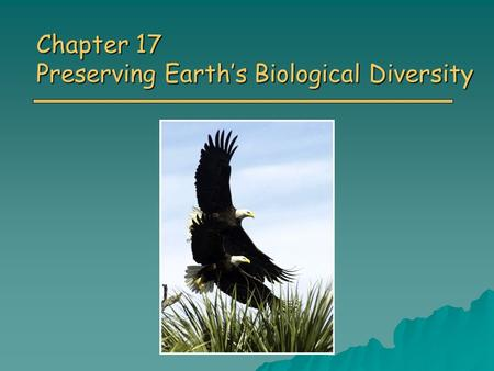 Chapter 17 Preserving Earth's Biological Diversity.
