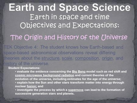 TEK Objective 4: The student knows how Earth-based and space-based astronomical observations reveal differing theories about the structure, scale, composition,