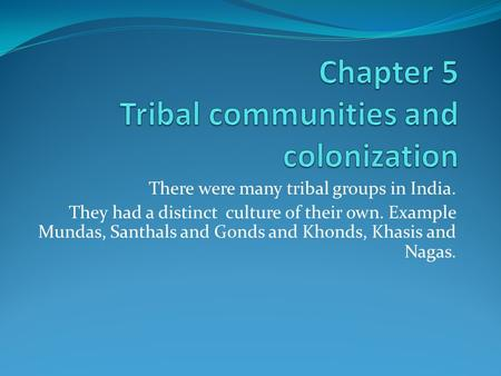 There were many tribal groups in India. They had a distinct culture of their own. Example Mundas, Santhals and Gonds and Khonds, Khasis and Nagas.