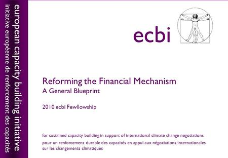 European capacity building initiativeecbi Reforming the Financial Mechanism A General Blueprint 2010 ecbi Fewllowship european capacity building initiative.