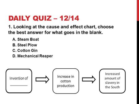 DAILY QUIZ – 12/14 1. Looking at the cause and effect chart, choose the best answer for what goes in the blank. A. Steam Boat B. Steel Plow C. Cotton Gin.
