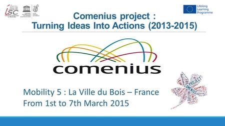 Comenius project : Turning Ideas Into Actions (2013-2015) Mobility 5 : La Ville du Bois – France From 1st to 7th March 2015.