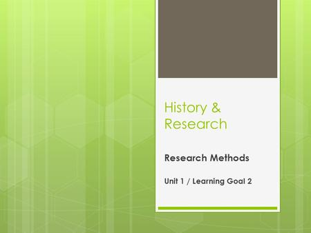 History & Research Research Methods Unit 1 / Learning Goal 2.