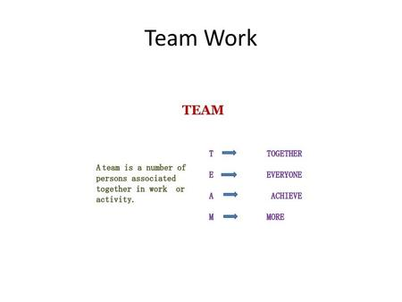 Team Work. Why we need team work Steps in Team Work 10 steps.