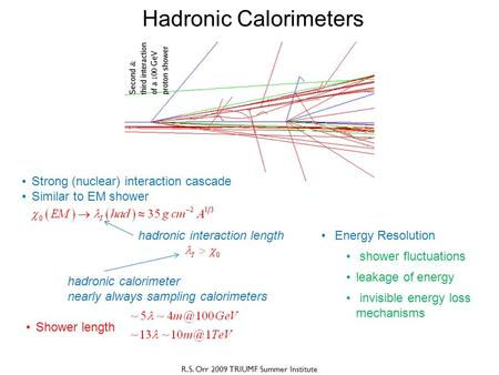 R.S. Orr 2009 TRIUMF Summer Institute Hadronic Calorimeters Strong (nuclear) interaction cascade Similar to EM shower hadronic interaction length Shower.