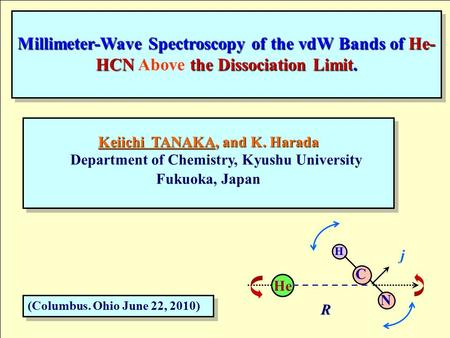 Millimeter-Wave Spectroscopy of the vdW Bands of He- HCN the Dissociation Limit. Millimeter-Wave Spectroscopy of the vdW Bands of He- HCN Above the Dissociation.