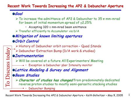 Recent Work Towards Increasing the AP2 & Debuncher Aperture – Keith Gollwitzer – May 9, 2005 1 Recent Work Towards Increasing the AP2 & Debuncher Aperture.