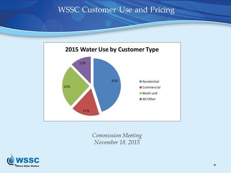 Commission Meeting November 18, 2015 WSSC Customer Use and Pricing.