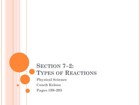 S ECTION 7–2: T YPES OF R EACTIONS Physical Science Coach Kelsoe Pages 199–205.