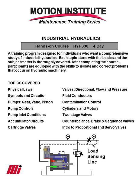 Maintenance Training Series INDUSTRIAL HYDRAULICS A training program designed for individuals who want a comprehensive study of industrial hydraulics.