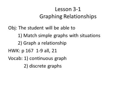 Lesson 3-1 Graphing Relationships Obj: The student will be able to 1) Match simple graphs with situations 2) Graph a relationship HWK: p 167 1-9 all, 21.