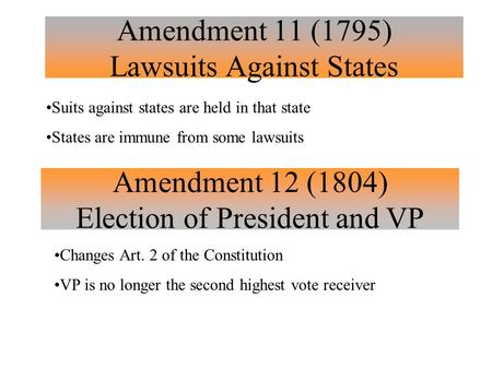 Amendment 11 (1795) Lawsuits Against States Suits against states are held in that state States are immune from some lawsuits Amendment 12 (1804) Election.