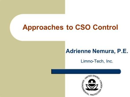 Approaches to CSO Control Adrienne Nemura, P.E. Limno-Tech, Inc.