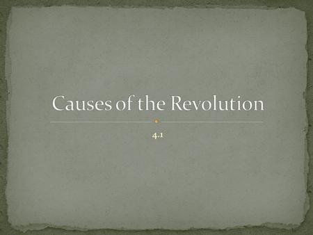 Causes of the Revolution