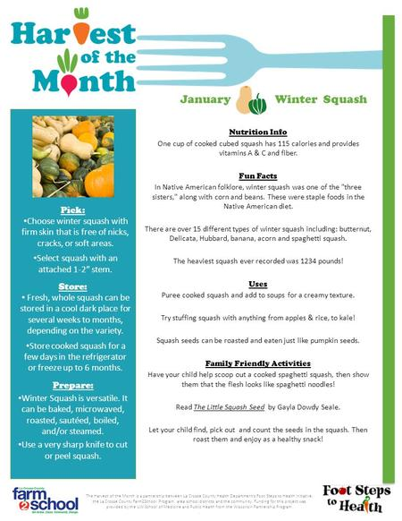 Nutrition Info One cup of cooked cubed squash has 115 calories and provides vitamins A & C and fiber. Fun Facts In Native American folklore, winter squash.