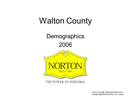 Walton County Demographics 2006 Sources: Georgia Department of Revenue, Georgia Department of Labor, U.S. Census.