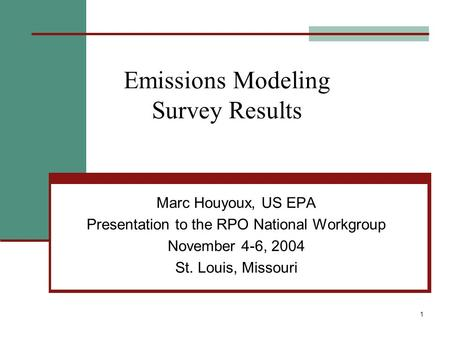 1 Emissions Modeling Survey Results Marc Houyoux, US EPA Presentation to the RPO National Workgroup November 4-6, 2004 St. Louis, Missouri.