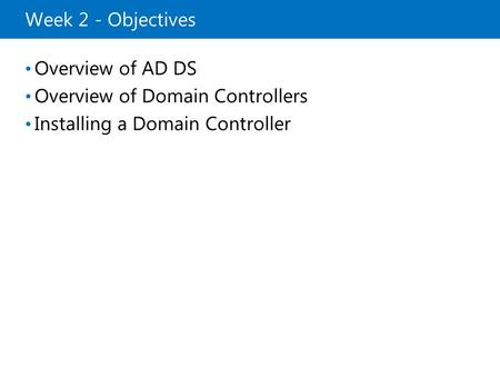 Installing a Domain Controller