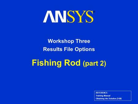 REFERENCE: Training Manual Obtaining the Solution (3-28) Fishing Rod (part 2) Workshop Three Results File Options.