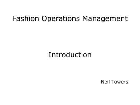 Fashion Operations Management
