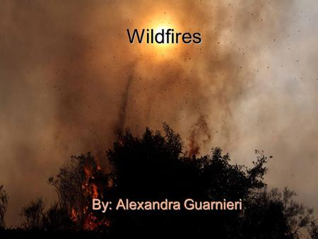 Wildfires By: Alexandra Guarnieri. What are wild fires? A wildfire is an uncontrolled blaze burning rapidly in forests, trees, brush, grass through wild.